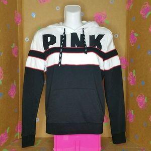 VS PINK Black White Red Hooded Sweatshirt Size XS